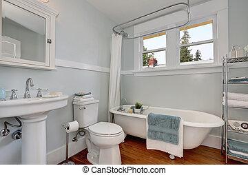 blu, pastello, bagno, pareti, disegno, artigiano, interno