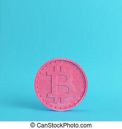 blu, pastello, luminoso, bitcoin, colori, fondo, moneta