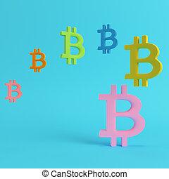 blu, pastello, luminoso, bitcoin, simboli, colori, fondo