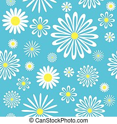 blu, pattern., seamless, chamomiles