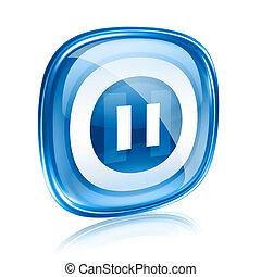blu, pausa, isolato, fondo., vetro, bianco, icona
