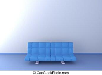 blu, pavimento, divano, rendering., wall., bianco, 3d