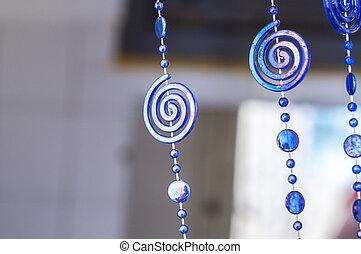 blu, pendenti, plastica