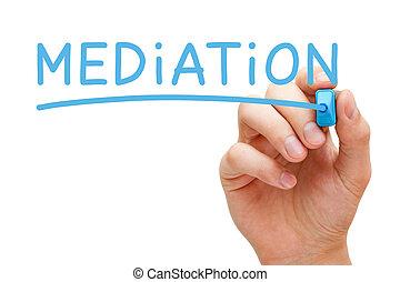 blu, pennarello, mediazione
