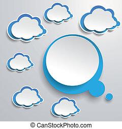 blu, pensiero, nubi bianche, bolla