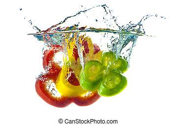 blu, pepe, astratto, -, isolato, giallo, acqua, fondo., gli spruzzi, verde, contro, bianco, chiaro, rosso