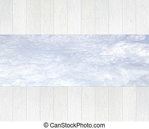 blu, percorso, bianco, legno, cielo