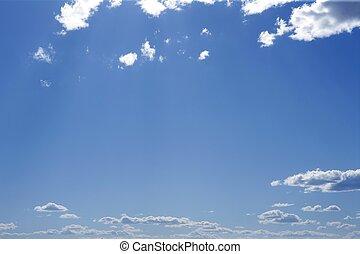 blu, perfetto, cielo, nubi bianche, su, soleggiato, giorno