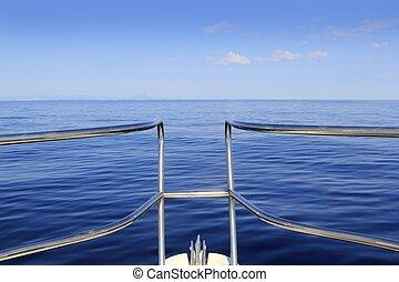 blu, perfetto, cruising, arco, calma, mare, oceano, barca