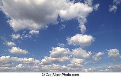 blu, perfetto, estate, cielo, nubi bianche