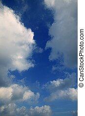 blu, perfetto, nubi, estate, cielo, bianco
