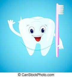 blu, personaggio, dente, spazzolino, fondo., sorridente, cartone animato