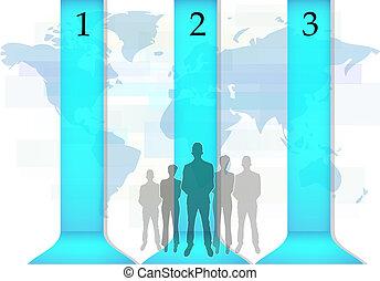 blu, persone affari, linee, illustrazione, infographics