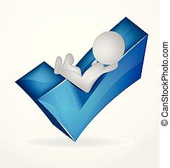 blu, persone, positivo, elenco, logotipo, bianco, assegno, 3d