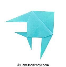 blu, pesce tropicale, origami