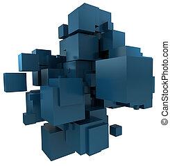 blu, petrolio, fondo, cubico