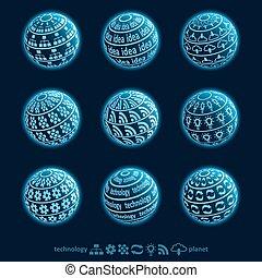 blu, pianeta, icone