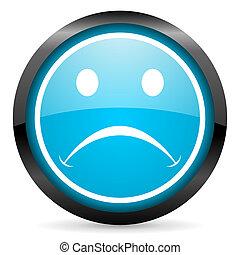 blu, piangere, lucido, fondo, cerchio, bianco, icona