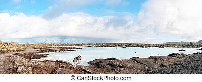 blu, pianta, islandese, potere, -, famoso, geotermico, ...