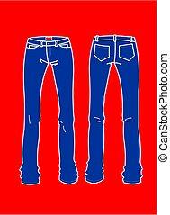blu, piastre, moda, jeans