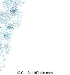 blu, piccolo, cornice, fiocchi neve, natale
