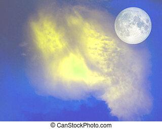 blu, pieno, cielo, luna gialla, nuvola