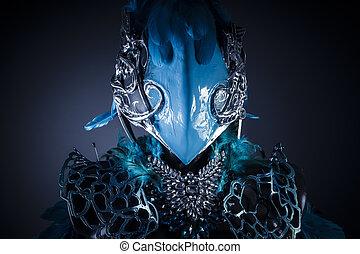 blu, pietre, o, figura, metallo, mitologico, fatto mano, ...
