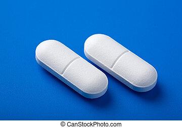 blu, pillole, sopra, bianco