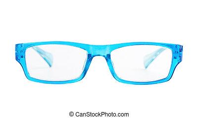 blu, plastica, isolato, occhiali