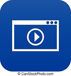 blu, playback, programma, video, digitale, icona
