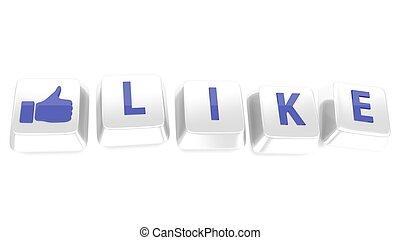 blu, pollice, illustration., chiavi, isolato, su, fondo., scritto, computer, bianco, 3d, icon., come