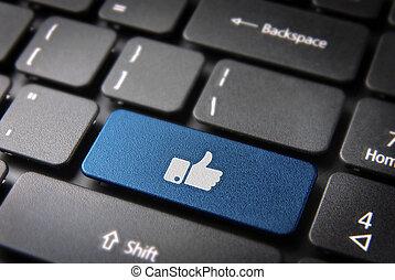 blu, pollice,  Media, chiave, su, fondo, tastiera, sociale