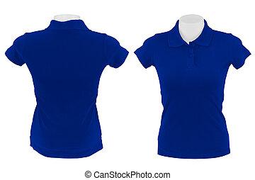 blu, polo, camicia bianca, fondo