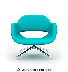 blu, poltrona, moderno, isolato, interpretazione, fondo, bianco, 3d