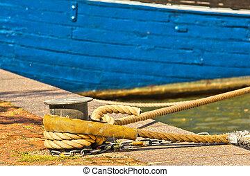 blu, porto, barca, ormeggio