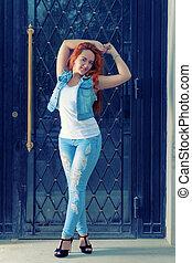 blu, posin, pieno, haired, jans, lunghezza, ritratto, sexy, rosso, donne