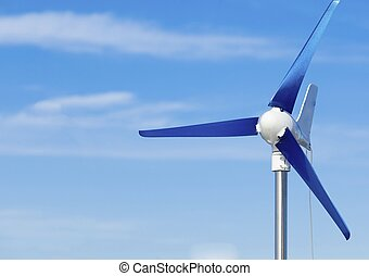 blu, potere, energia, cielo, rinnovabile, turbina, produrre, alternativa, vento
