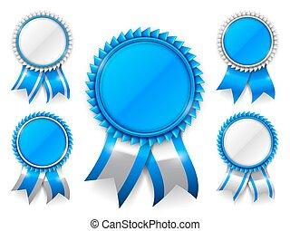 blu, premio, medaglie