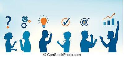 blu, profilo, concetto, silhouette, service., persone affari, colorare, risolvere, soluzione, analisi, strategia, solution., team., problems., cliente, risultato, problema, gesturing, success.