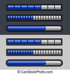 blu, progresso, strisce, set, sbarra