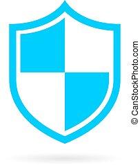 blu, protezione, scudo, icona