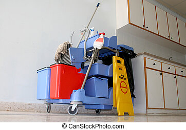 blu, pubblico, locali, pulizia, equipme