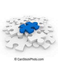 blu, puzzle, bianco, 3d