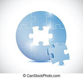 blu, puzzle, disegno, cerchio, illustrazione