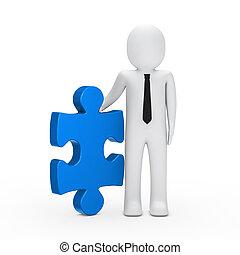 blu, puzzle, presa, uomo affari