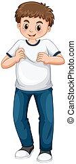 blu, ragazzo, adolescente, jeans, t-shirt, bianco