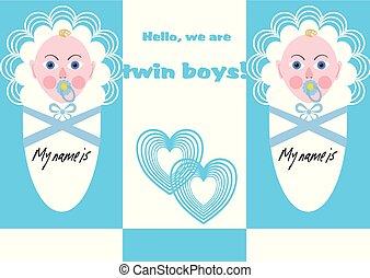 blu, ragazzo, annuncio, due, neonato, gemelli, bambini, disegno
