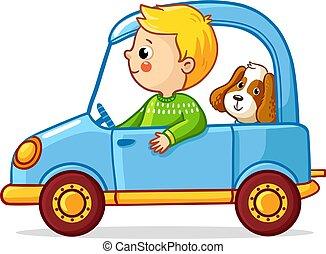 blu, ragazzo, cane, illustrazione, vettore, automobile.