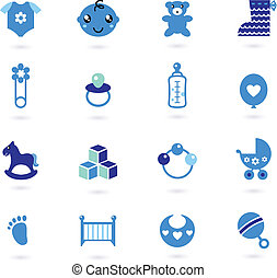 blu, ragazzo, icone, isolato, collezione, vettore, bambino, bianco