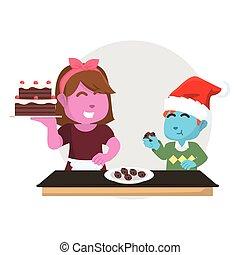 blu, ragazzo, mangiare, torta natale